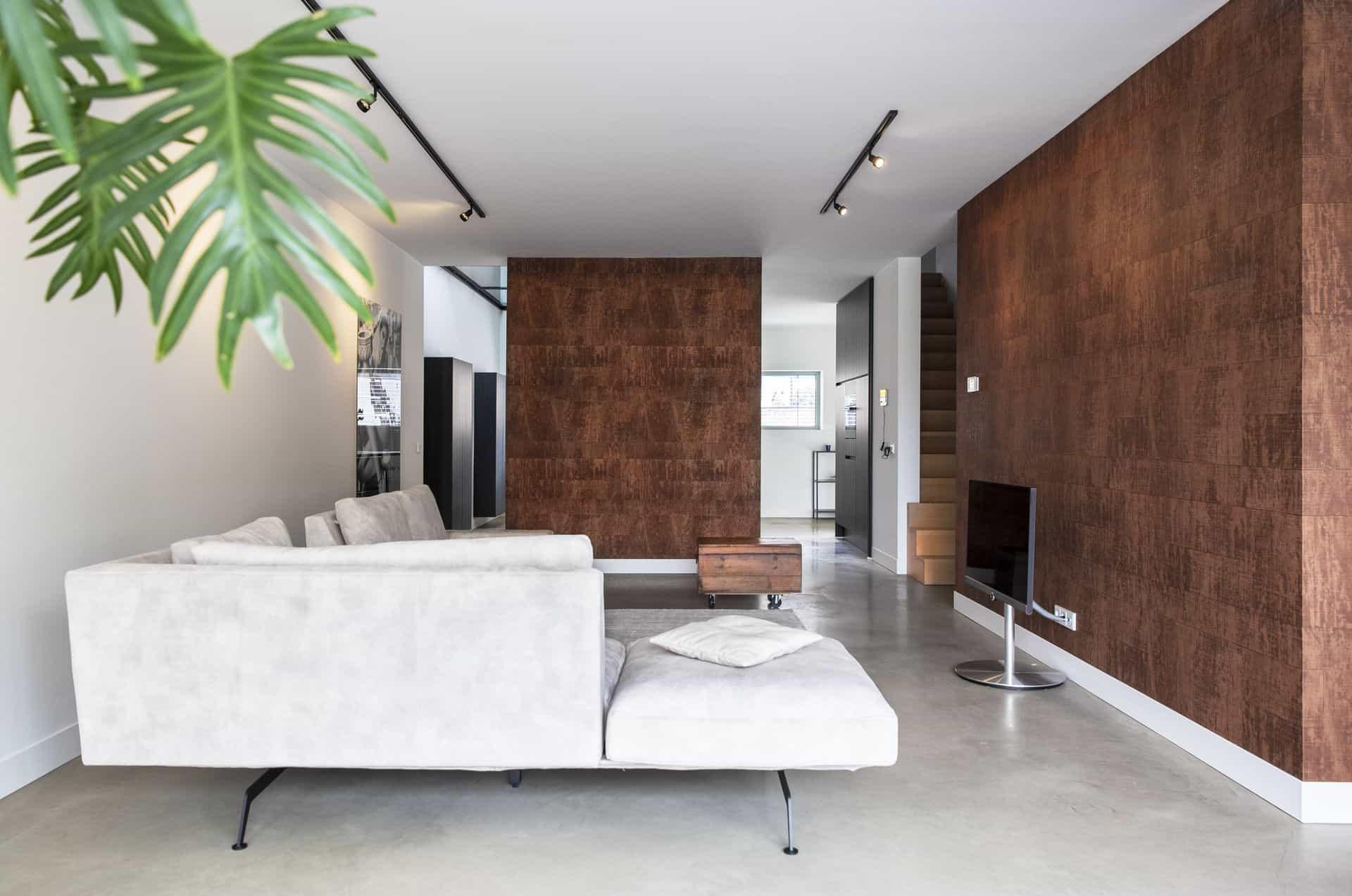 gevlinderde betonnen vloer, gevlinderde betonnen vloer woonkamer