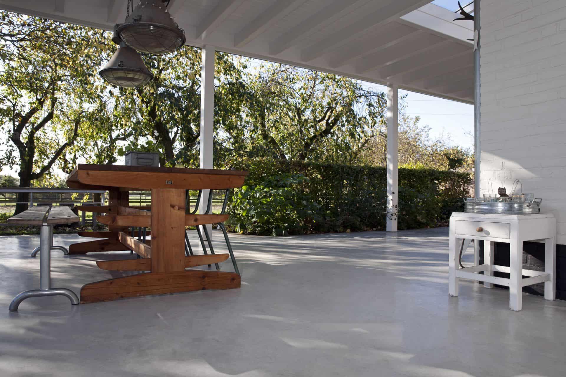 betonnen vloer, beton terras, terras van beton