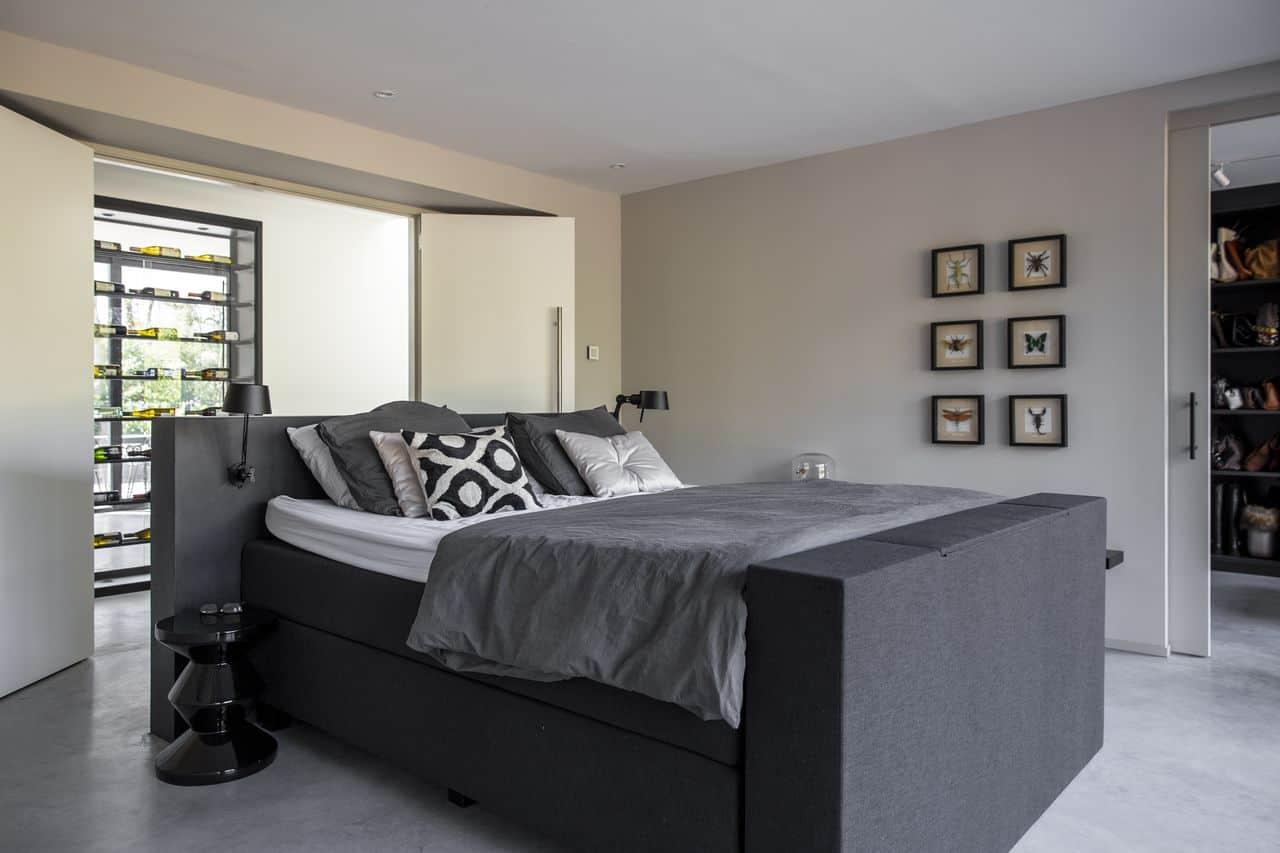 slaapkamer, slaapkamerinspiratie, betonvloer in de slaapkamer, slaapkamer voorzien van beton
