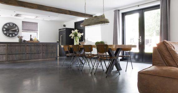 Gevlinderde betonvloer, betonvloer gevlinderd, betonnen vloer