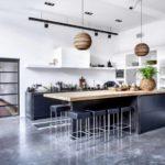 woonbeton in de keuken, keuken met betonnen vloer