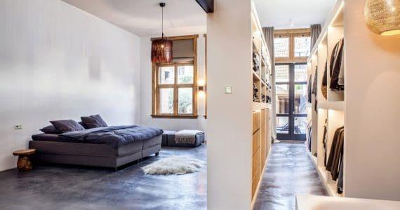gevlinderde betonvloer slaapkamer