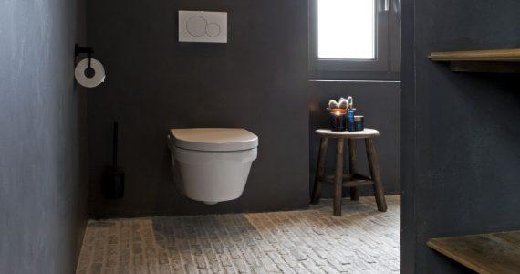 Betonlook muren in de badkamer, badkamer