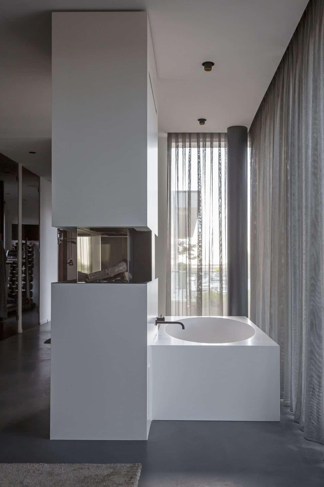 betonvloer badkamer, Gevlinderde woonbeton vloer