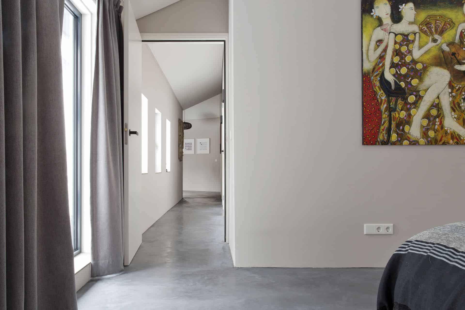 Gevlinderde betonnen vloer, woonbeton