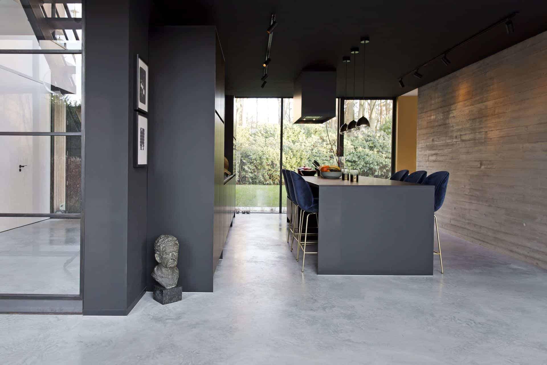 soorten betonvloeren, gevlinderde betonvloer keuken
