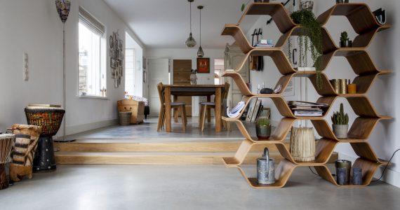 gevlinderd beton in de woning, vloer van willem designvloeren