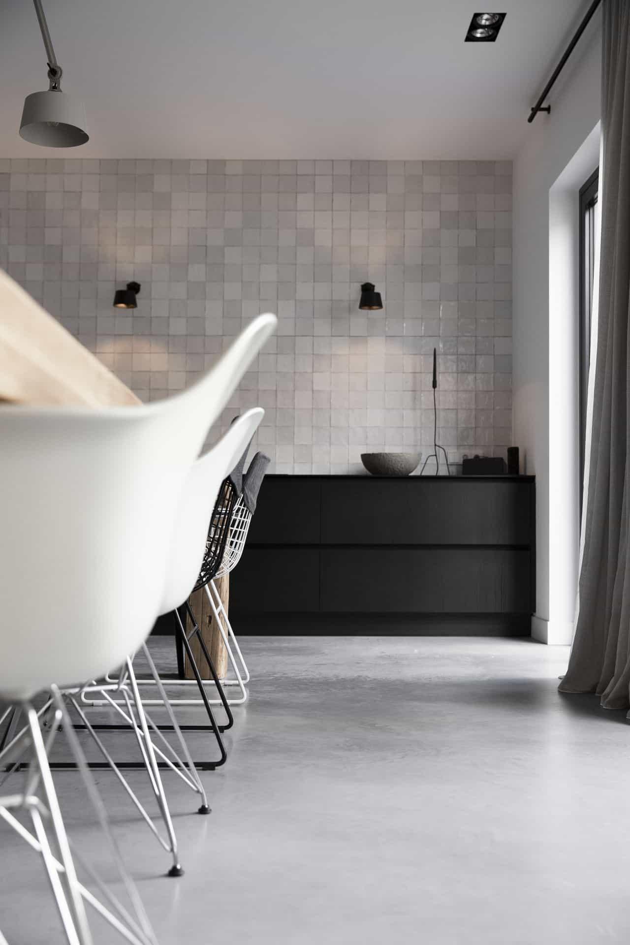 woonbeton keuken, keuken gevlinderd beton, onderhoud gepolierde beton